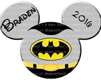 IRON-ON Mickey Batman Ears! - Mouse Ears Tshirt Transfer