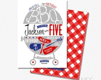 Birthday BBQ Invitation | Summer Barbecue Invitation | Digital BBQ Birthday Invite | Aduly BBQ Birthday - 5X7 with *bonus reverse side""