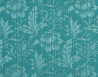 Turquoise Two Toned Floral Metallic Sheen Upholstery Fabric By The Yard | Pattern # A0100K