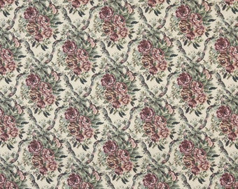 Burgundy And Green Floral Bouquet Tapestry Upholstery Fabric By The Yard | Pattern # F664