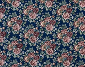 Navy Red Green And Orange Floral Tapestry Upholstery Fabric By The Yard | Pattern # F647