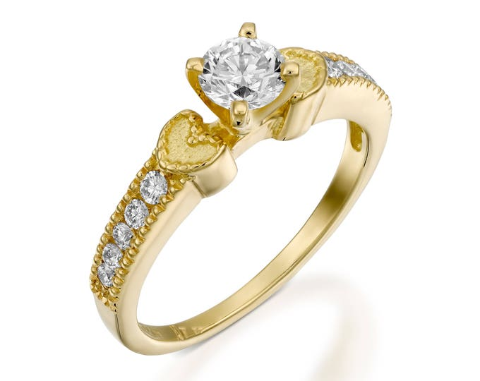 ON SALE!!Diamond Engagement Ring-heart engagement ring-diamond heart ring-Gold Ring -1/2 carat solitaire diamond ring -Solitaire ring