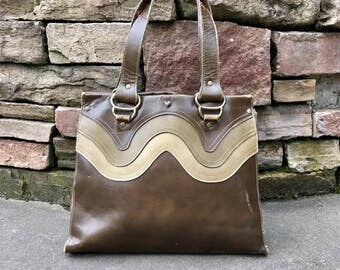 Vintage 1960s Retro Leather Handbag Vtg 60s Taupe Brown Purse by Jean Fogel