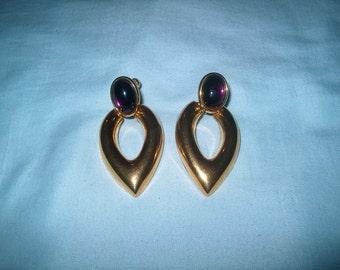 Vintage Costume Jewelry Napier Clipback Earrings, Purple Stone, Goldtone Metal, WAS 10.00 - 20% = 8.00