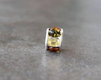 925 silver pendant with amber for bracelet