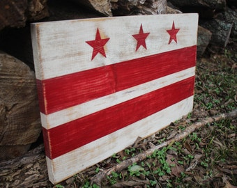 """READY to SHIP - Washington DC Flag, Hand Painted on Wood - 18"""" x 12"""" Wall Hanging"""