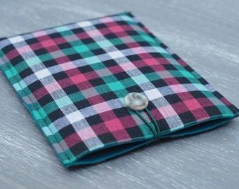 """Padded iPad Mini Cover/ Kindle Paperwhite Case/ Samsung Tab S2 8""""/ Kindle Paperwhite Sleeve/ Check Kindle Cover Case/ Checked Tartan Pattern"""
