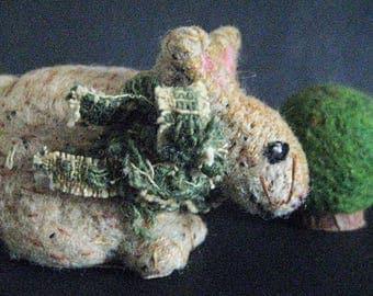 "Primitive Rabbit-""LANCELOT""-an original folk art design needlefelted from wool with shrub."