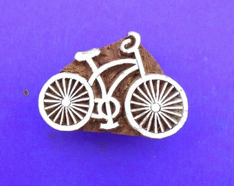 Bicycle Hand Carved Wood Stamp Indian Print Block (A74)