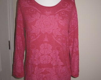 SALE! Madness Pure Cotton Pink Ornamental Printed Top Pullover M L
