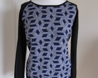 Funky Black Blue Abstract Patterned Knitted Sweater Pullover M