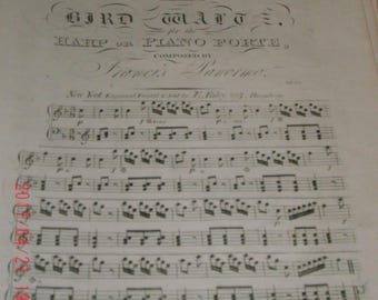 The Bird Waltz for the Harp or Piano Forte Composed by Francis Panormo, c1850s, Sheet Music