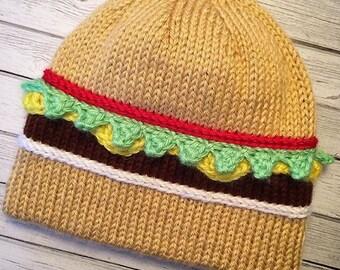 Hamburger hat, Cheeseburger hat, Knit hamburger hat, Crochet hamburger hat, Knit cheesebuger hat, Burger lover hat, Novelty hat, Burger hat