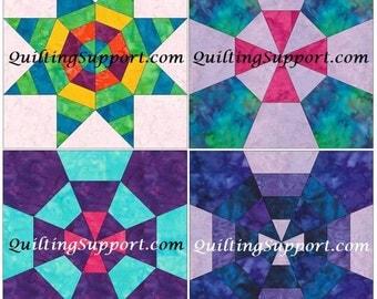 10 Inch Spiderweb Foundation Set 1 Paper Piece Quilting 4 Block Patterns PDF