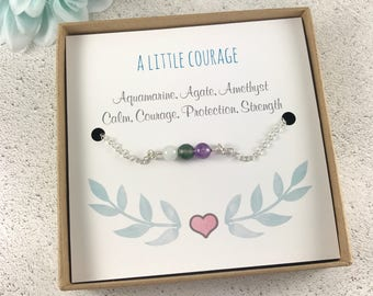 Courage bracelet, Strength Bracelet, Calm Bracelet, Gemstone Bracelet, Bracelet Card, Sentiment Bracelet