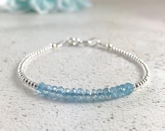 Dainty aquamarine bracelet, March Birthstone stacking aqua gemstone sterling silver artisan handmade bracelet