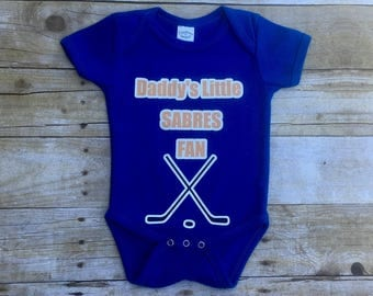 BUFFALO SABRES Hockey Baby Bodysuit or T-Shirt. Customize name & color!  Perfect baby shower, father's day or mother's day gift!