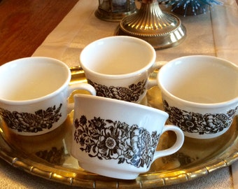 SALE...Vintage Set of 4, White & Brown USA Pottery Mugs, Coffee/Tea Cups, Flowers, Transferware, Cottage, Mid Century, French Country