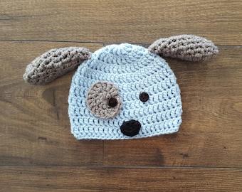Baby puppy hat, Crochet puppy hat, baby dog hat, crochet baby hat, baby boy gift, baby gift, newborn photo prop, baby shower gift, baby hat