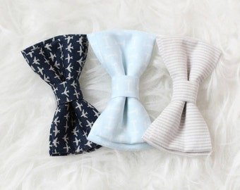 Choose your own clip on bow tie - navy and gray airplanes, light blue and white or gray and white stripes.