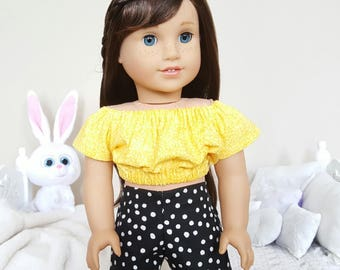 18 inch doll peasant blouse & shorts   yellow crop top   black and white shorts