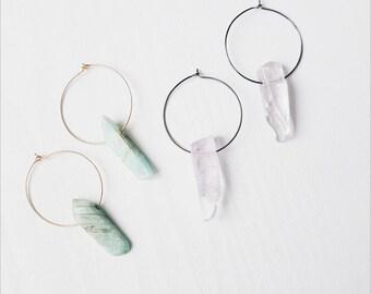 Amethyst Hoop Earrings | Amazonite Gemstone Gold Hoop Earrings | Bohemian Jewellery