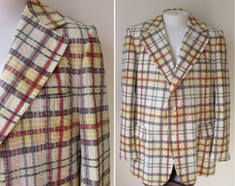 70's Don Richards Madras Plaid sports blazer preppy jacket