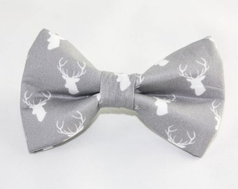 "Dog Bow Tie ""The Reindeer Games"" in grey large print"