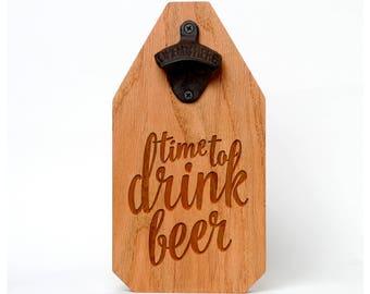 Beer Bottle Opener Wall Mount Wood Sign - Rustic Decor Boyfriend Gift - Beer Gift