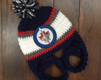 Handmade Winnipeg Jets Crochet Hat with NHL Patch/ Photo Prop (newborn-adult: made to order)
