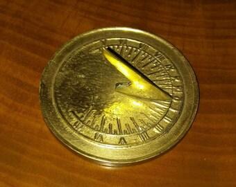 Vintage Brass Sundial Paperweight