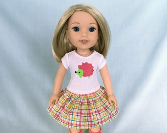 Hedgehog T-Shirt and Plaid Skirt for Wellie Wisher/14.5 Inch Doll