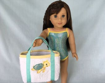 Iridescent Aqua Bathing Suit and Sea Turtle Beach Bag for American Girl/18 Inch Doll