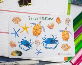 Sea creatures and shells - decorative watercolour planner stickers suitable for any planner -253-