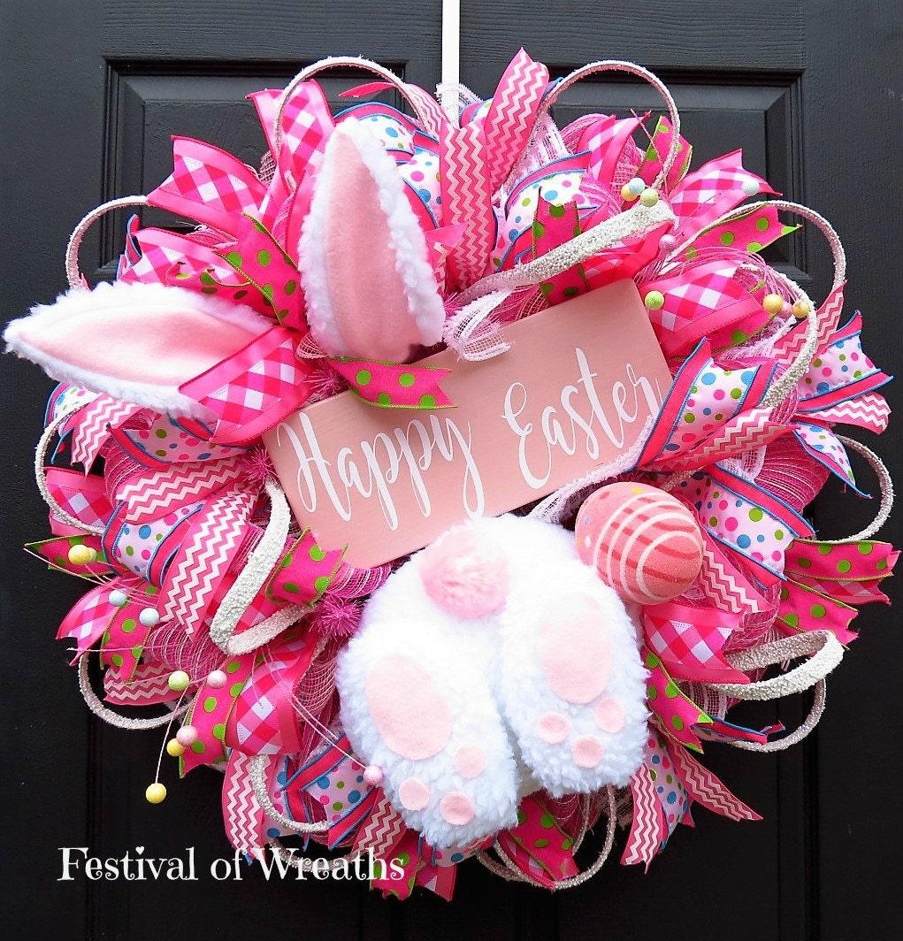 Easter Wreath Easter Front Door Wreath Easter Deco Mesh