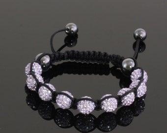 Violet Shamballa Bracelet, Shambhala Bracelet, Purple Crystal Bead Bracelet, Macrame Bracelet, Disco Ball Bracelet, Sparkly Lilac Bracelet