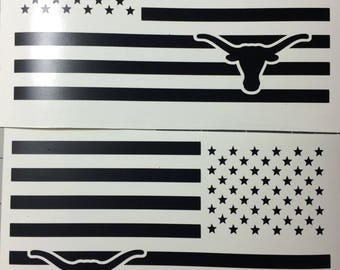 Texas  Longhorn American Flag Vinyl Decal