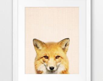 Fox Print, Woodland Nursery Wall Art, Animal Print, Nursery Decor, Cute Red Fox Photography, Forest Animal, Kids Room Decor, Printable Art
