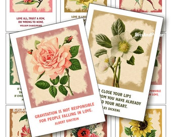 ACEO cards love quotes, printable cards, motivational cards, digital collage sheet, ACEO printables, quotes about love 2.5x3.5, scrapbooking