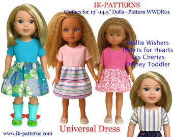Dress Top Pattern robe 13 14 14.5 inch dolls Wellie Wishers Hearts for Hearts Corolle Les Cheries Paola Reina Disney Toddler easy to sew pdf