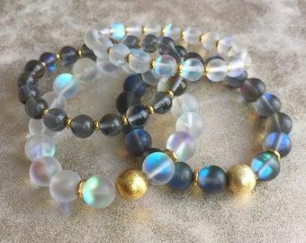 Matte Mystic Aura Quartz Bracelet Set