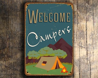 WELCOME CAMPERS SIGN, Vintage style Camping Signs, Welcome Campers Signs, Camping Decor, Campers Signs, Outdoor Camping Signs, Camping Gift