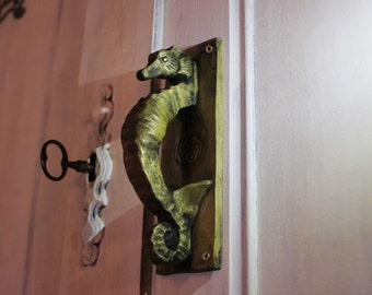 seahorse doorhandle steampunk brass or silver