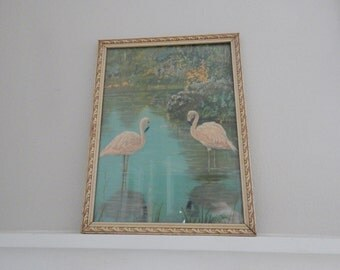 embossed framed flamingo photograph print vintage flaming print with 10 x 13 embossed wooden frame with leaf design 1950s vintage print