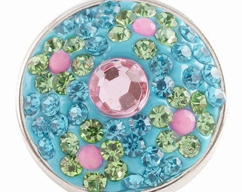 KC2767  Gorgeous Blue & Pink Crystal Snap Set in Blue Resin