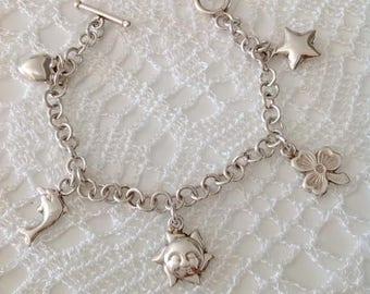 Sterling Silver charm bracelet. Charm bracelet, sterling silver bracelet, for her,