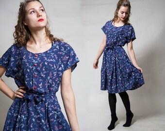 Blue Floral Short Sleeve Dress/ Pleated Skirt/ Button Up Summer Dress/ Belted Spring Shirt Dress • Size Medium •