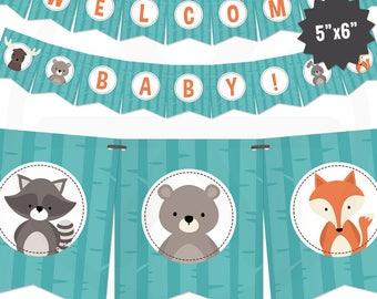 Woodland Baby Shower Banner - Forest Animals Baby Banner - Cute Woods Baby Shower Decorations - Gender Neutral Baby Decor. Printable Garland