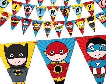 Superhero Birthday Banner. Comic Book Theme Bunting Banner. Printable Pennant Garland. Superheroes Kids Birthday Party Decorations - Digital