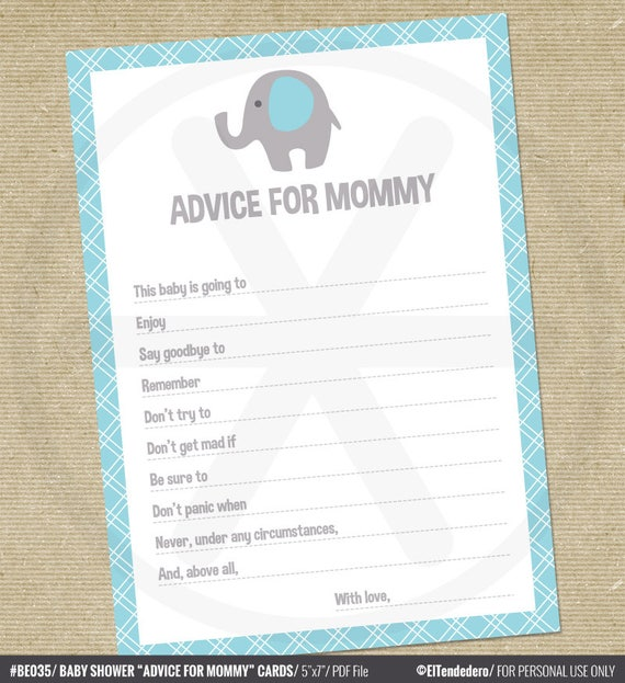 Baby Shower Tips For New Moms: Baby Shower Advice Cards Advice For Mommy Blue Elephant